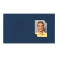 Passbildmappe mit Multischlitz für 3,5x4,5 und 6x8 cm - blau gerippt Produktbild