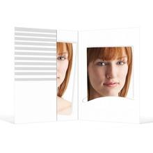 Passbildmappe mit Einsteckschlitz für 4,5x6 cm - weiß - mit grauen Streifen Produktbild