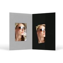 Bewerbungsbildmappe mit Ausschnitt 40x55 mm & Tasche - schwarz/grau - Filzprägung Produktbild