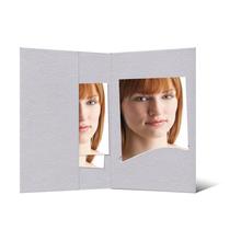 Bewerbungsbildmappe mit Einsteckschlitz für 6x9 cm - grau - Filzprägung Produktbild