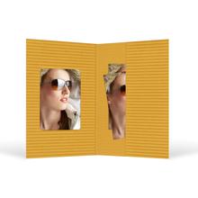 Passbildmappe mit Ausschnitt 35x50 mm & Tasche - gelb gerippt Produktbild