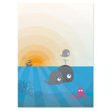 2 tlg. Fotomappe / Kindergartenmappe für 20x28 cm mit Fototasche - Wale Produktbild