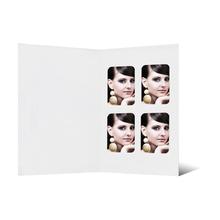 Passbildmappen mit 4 Ausschnitten ohne Tasche - weiß mit Filzprägung Produktbild
