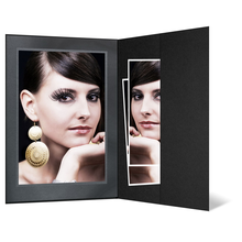Portraitmappe mit Tasche für 13x18 cm schwarz mit silber/schwarzer Maske - silber Rand Produktbild
