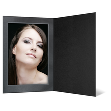 Eventmappe ohne Tasche für 13x18 cm - schwarz matt - silber/schwarze Maske Produktbild