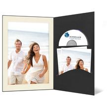DVD/CD Fotomappe für 13x18 cm - schwarz - creme gerippte Maske - ohne Rand Produktbild