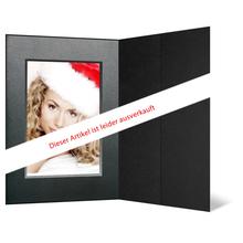 Portraitmappe mit Tasche für 13x18 cm - schwarz - silber/schwarz Maske Produktbild