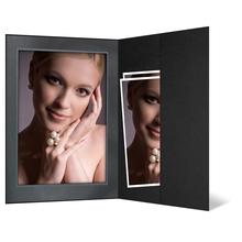 Portraitmappe mit Tasche für 13x18 cm - schwarz - silber/schwarze marmorierte Maske Produktbild