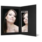 Portraitmappe mit Tasche für 15x20 cm schwarz - schwarz gerippte Maske Produktbild