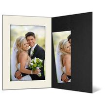 Portraitmappe mit Tasche für 15x20 cm schwarz - creme gerippte Maske Produktbild