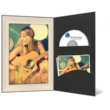 DVD/CD Fotomappe für 13x18 cm - schwarz - creme satinierte Maske - Blindprägung Produktbild