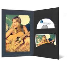 DVD/CD Fotomappe für 13x18 cm - schwarz - anthrazit satinierte Maske - Blindprägung Produktbild