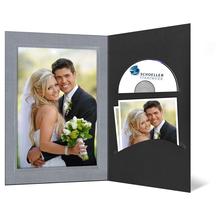 DVD/CD Fotomappe für 13x18 cm - schwarz - silber satinierte Maske - Blindprägung Produktbild