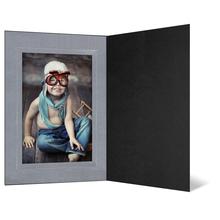 Eventmappe ohne Tasche für 13x18 cm - schwarz - silber satinierte Maske Produktbild