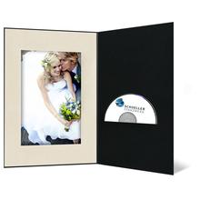 DVD/CD Fotomappe für 15x20 cm - schwarz - creme satinierte Maske - Blindprägung Produktbild