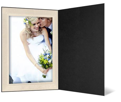 Eventmappe ohne Tasche für 15x20 cm - schwarz matt - creme satinierte Maske Produktbild