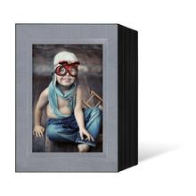 Endlosleporello für 15x20 cm - schwarz - silber satinierte Maske - Blindprägung - 50 Teile Produktbild