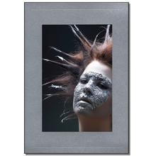 Einzelpassepartout für 15x20 cm - silber satiniert - mit schwarzer Rückwand Produktbild
