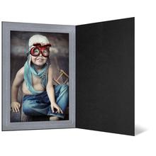 Eventmappe ohne Tasche für 15x20 cm - schwarz matt - silber satinierte Maske Produktbild