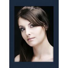 Einzelpassepartout für 20x30 cm - blau gerippt - mit schwarzer Rückwand Produktbild