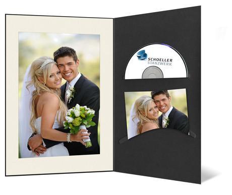 DVD/CD Fotomappe für 10x15 cm - schwarz - creme gerippte Maske - ohne Rand Produktbild