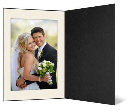 Eventmappe ohne Tasche für 10x15 cm - schwarz  - creme gerippte Maske Produktbild