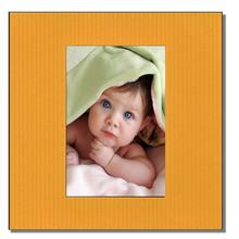 Einzelpassepartout quadratisch für 6x9 cm - gelb gerippt - mit Rückwand Produktbild