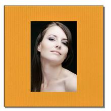 Einzelpassepartout quadratisch für 13x18 cm - gelb gerippt - mit Rückwand Produktbild