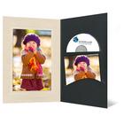 DVD/CD Fotomappe für 10x15 cm - schwarz - creme satinierte Maske - Blindprägung Produktbild