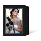Endlosleporello für 13x18 cm - schwarz - schwarz filzgeprägte Maske - Silberrand - 100 Teile  Produktbild