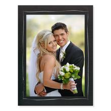 Aufsteller für 13x18 cm - schwarz mit silber Tuscherand - mit schwarzem starkem Rücken Produktbild