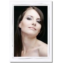 Einzelpassepartout für 13x18 cm - weiß matt - grauer Tuscherand - mit Rückwand Produktbild