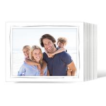 Endlosleporello Querformat für 13x18 cm - weiß - weiß matte Maske - grauer Tuscherand - 100 Teile Produktbild