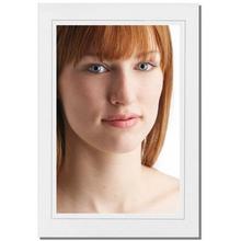 Einzelpassepartout für 13x18 cm - weiß matt - grauer Rand - mit Rückwand Produktbild