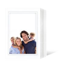 Endlosleporello für 13x18 cm - weiß - weiß glänzende Maske - grauer Rand - eckig/oval - 100 Teile Produktbild