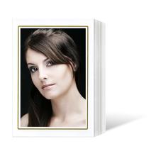 Endlosleporello  für 9x13 cm - weiß glänzend - weiße glänzende Maske - Goldrand - 100 Teile  Produktbild