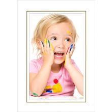 Fotomaske für 9x13 cm - weiß glänzend - Goldrand - ohne Rückwand Produktbild