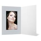 Eventmappe ohne Tasche für 10x15 cm - weiß glänzend - silber satinierte Maske - Blindprägung Produktbild