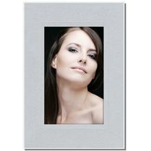 Aufsteller für 10x15 cm - silber satiniert - mit weißem starken Rücken Produktbild