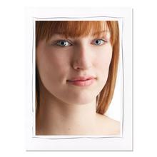 Aufsteller für 15x20 cm - weiß matt mit grauem Tuscherand - mit weißem starkem Rücken Produktbild
