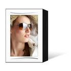 Endlosleporello für 13x18 cm - schwarz - weiße leinenstrukturierte Maske - Silberstrich - 100 Teile Produktbild