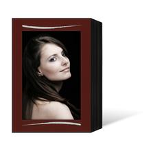 Endlosleporello für 13x18 cm - schwarz - bordeaux filzgeprägte Maske - Silberstrich - 100 Teile Produktbild
