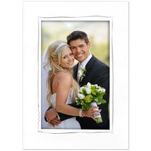 Einzelpassepartout für 13x19 cm - weiß - grauer Tuscherand - mit Rückwand Produktbild