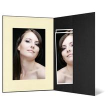 Portraitmappe mit Tasche für 13x19 cm - schwarz - creme gerippte Maske Produktbild