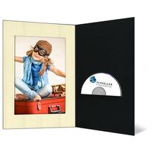 DVD/CD Fotomappe für 13x19 cm - schwarz - creme gerippte Maske - ohne Rand Produktbild
