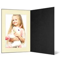 Eventmappe ohne Tasche für 13x19 cm - schwarz matt - creme gerippte Maske Produktbild