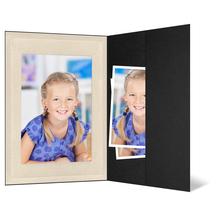 Portraitmappe mit Tasche für 13x19 cm - schwarz - creme satinierte Maske - Blindprägung Produktbild