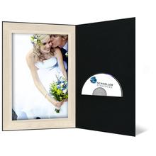 DVD/CD Fotomappe für 13x19 cm - schwarz - creme satinierte Maske - Blindprägung Produktbild