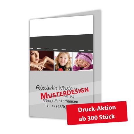 Individuell bedruckbare Passbildmappe mit Ausschnitt 32x42 mm & Tasche - weiß - 4-farbig bedruckbar Produktbild