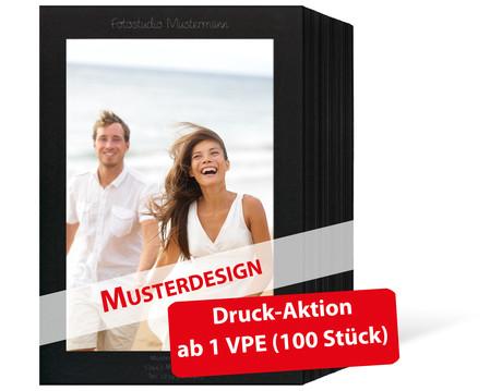 Individuell bedruckbare Endlosleporello für 13x18 cm - schwarz - schwarz inkl. 1-farbigem Druck - 100 Teile  Produktbild